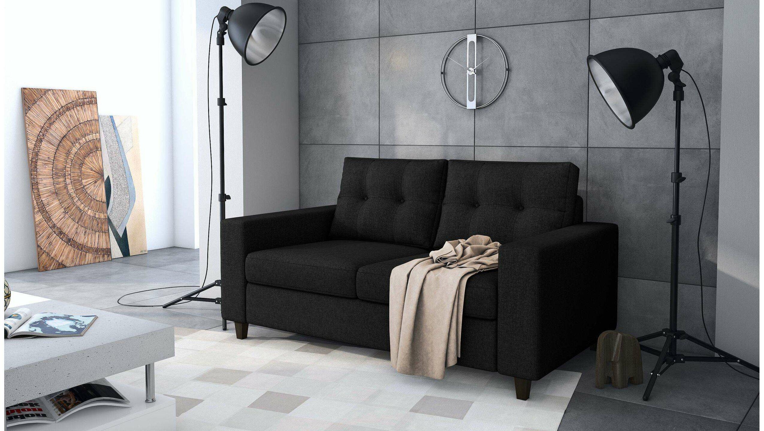 Stylefy Kari Einzelsofa Schwarz Strukturstoff - Möbel ...