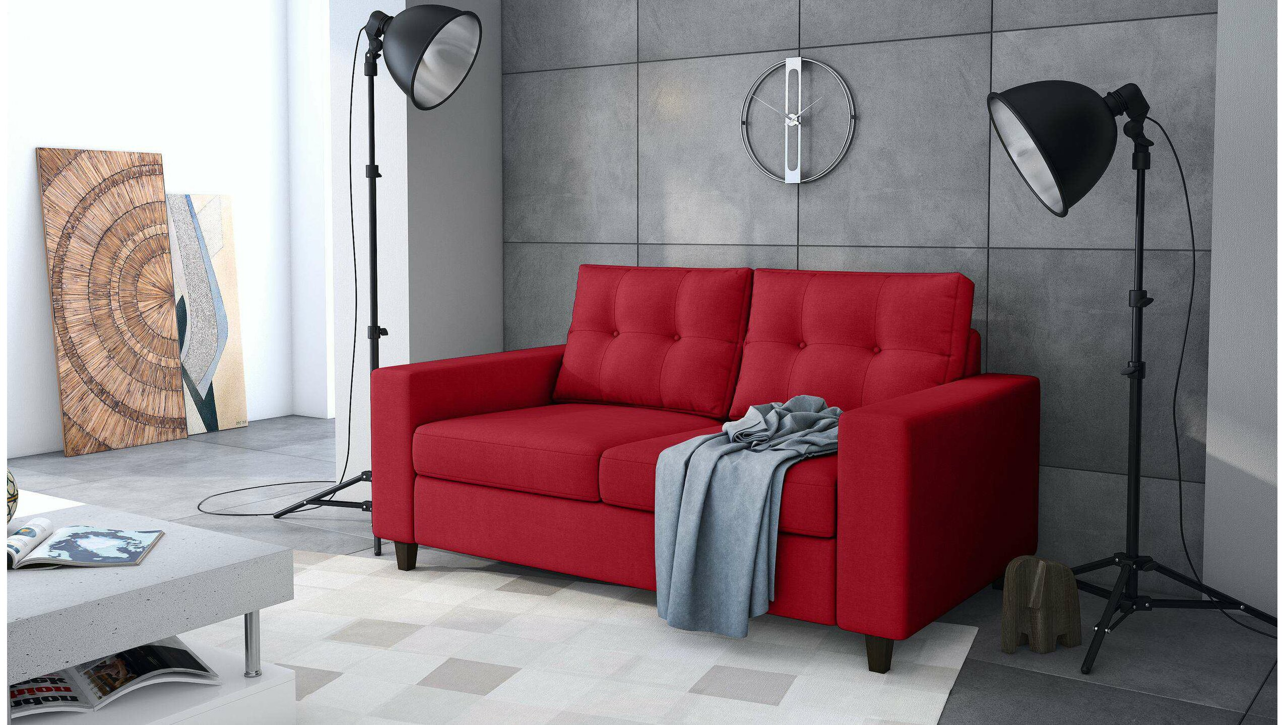 Stylefy Kari Einzelsofa Rot Velours - Möbel online kaufen ...